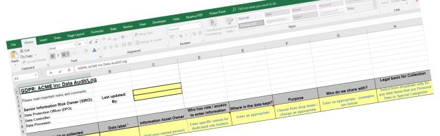 GDPR Data Audit Spreadsheet